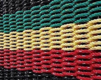 Handwoven Rope Mat - BOB MARLEY - Black / Red / Yellow / Green / Black
