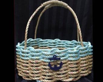 Large - Oval Market Basket - Natural / Aqua