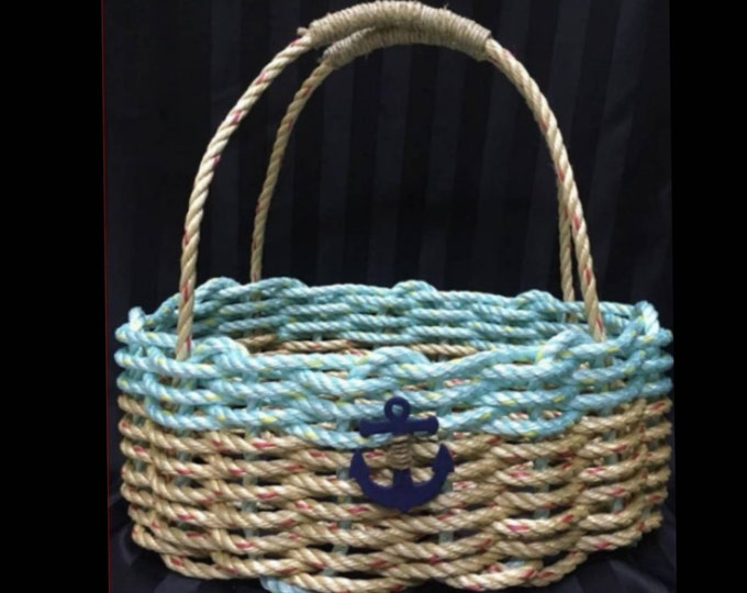 Large - Oval Market Basket - Natural / Aqua