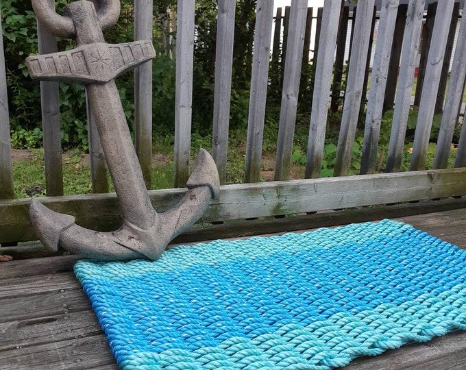Handwoven Rope Mat - Ocean Blue / Aqua