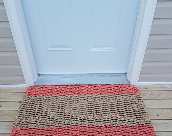 Handwoven Rope Mat - Coral / Wide Natural Stripe