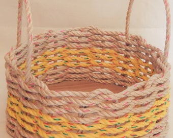Med  Hand Woven Rope Basket Natural/ Yellow