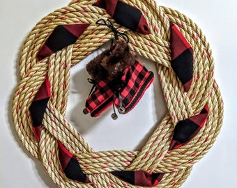 Turks Knot Wreath with Buffalo Plaid Booties and Ribbon