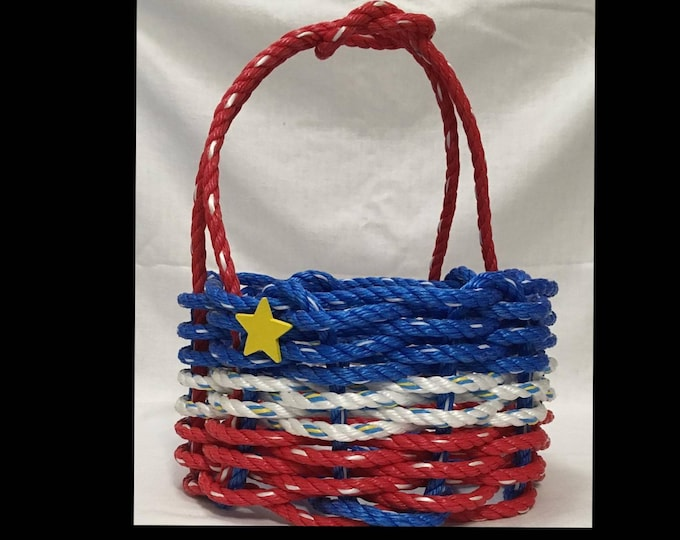 Small - Handwoven Acadian Rope Basket - Red / White / Blue with Yellow Star