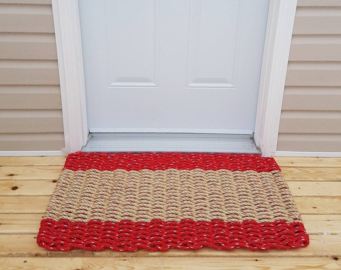 Handwoven Rope Mat - Red / Wide Natural Stripe