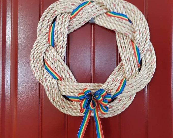 Handwoven Turks Knot Wreath Rainbow Ribbon (7Byte)