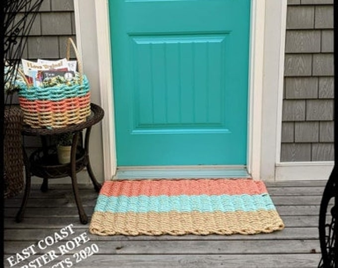 Handwoven Rope Door Mat Coral/ Aqua/ Natural
