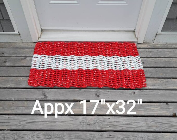 SALE Handwoven Rope Mat Red / White