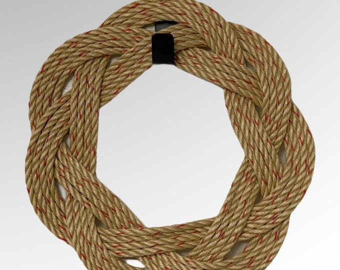 Handwoven Rope Wreath Natural add Bows