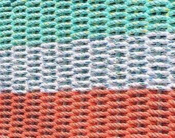 Handwoven Rope Mat - Coral /White / Aqua