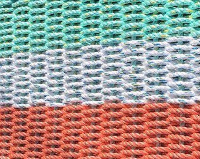 Handwoven Rope Mat - Coral /White / Aqua