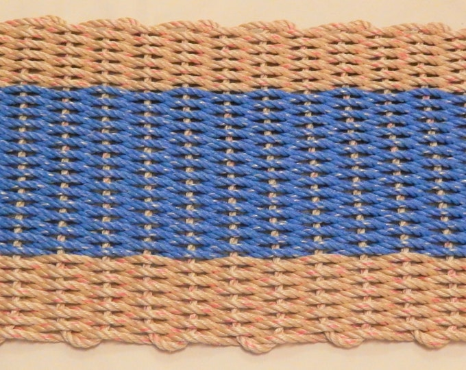 Handwoven Rope Mat - Natural / Wide Ocean Blue Stripe