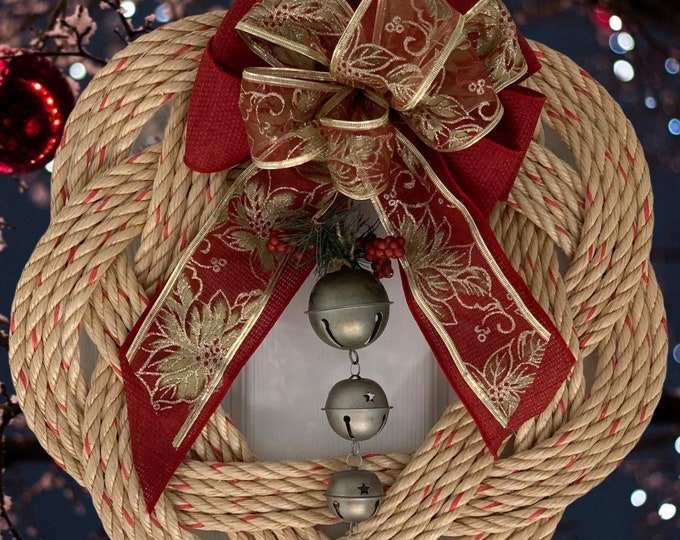 Handwoven Rope Wreath- Bow and Bells