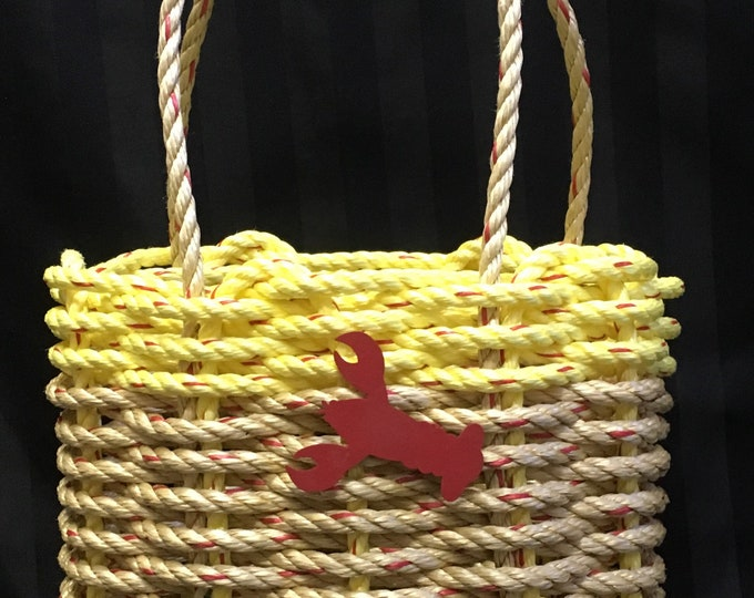 Handwoven High-sided Rope Basket - Yellow / Natural
