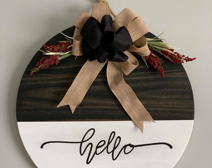 Wooden Door /Wall Hanger-Hello