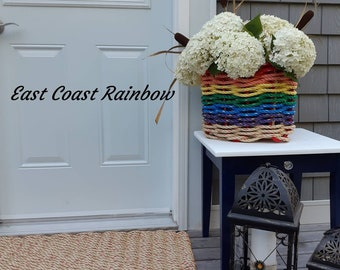 Handwoven Highsided Flair Rainbow Basket