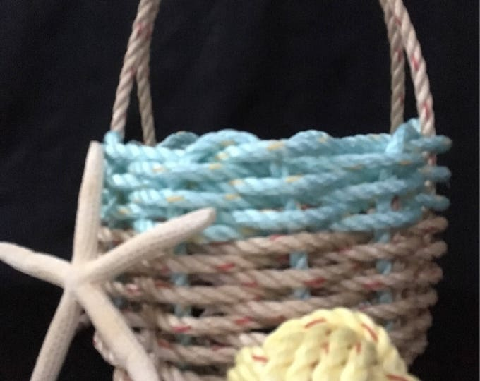 Handwoven Small Basket Wrapped Handle