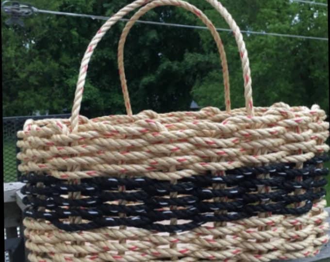 Large - Oval Market Basket - Natural and Black