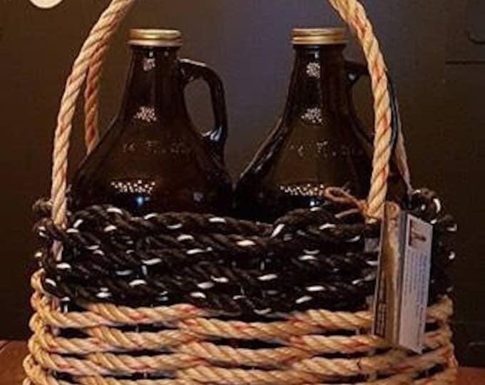 Small Oval Growler Basket Natural/Black