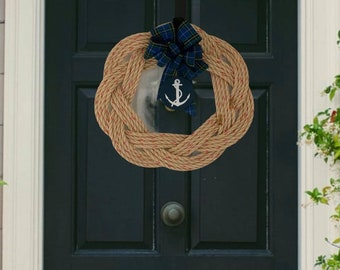 Handwoven Rope Turks Knot Wreath- Nova Scotia Tartan with Anchor Medallion