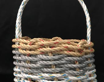Small Handwoven Rope Basket  White/Grey/Natural