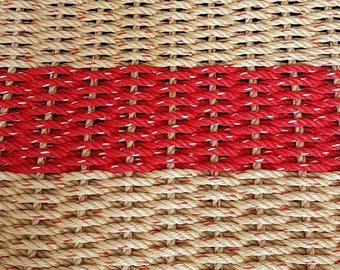 Hand Woven Rope Mat Natural/Red