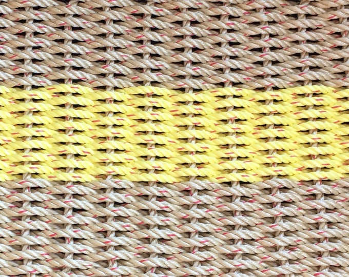 Hand Woven Rope Mat Natural/Yellow