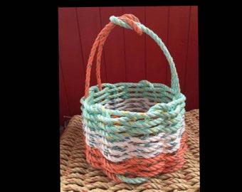 Small - Handwoven Rope Basket - Coral / White / Aqua