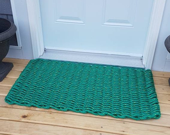 Handwoven Rope Mat - Green
