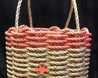Handwoven Highsided Rope Basket Coral/ Natural