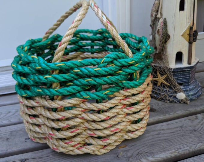 Small - Handwoven Rope Basket - Natural / Green
