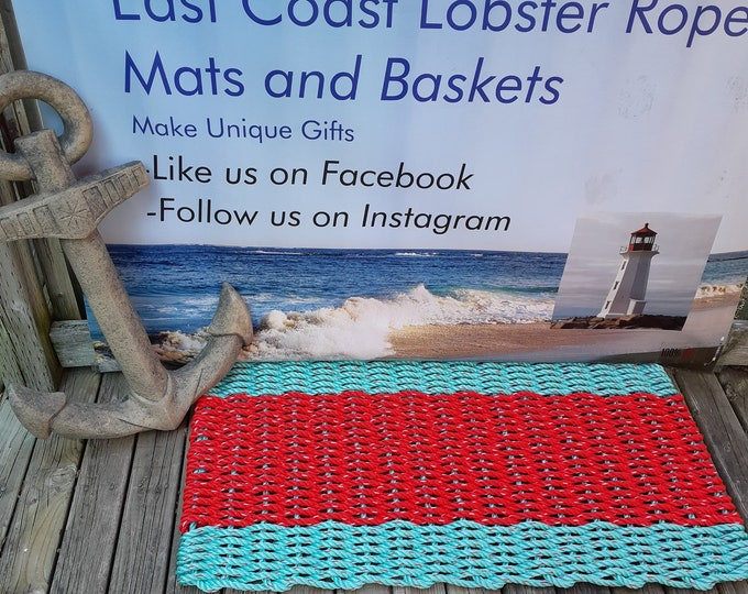 Handwoven Rope Mat - Aqua / Wide Red Stripe