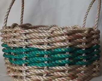 Med Hand Woven Rope Basket Natural/ Green