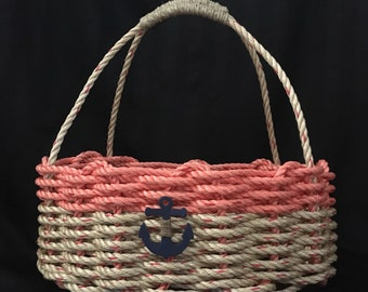 Handwoven Market Basket  Natural/Coral with Nautical Decor& Wrapped Handle