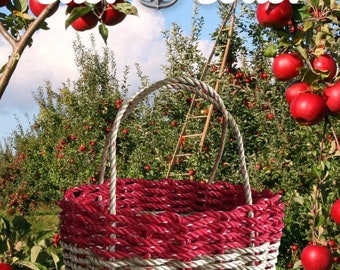 Hand Woven - Oval Market Basket - Natural / Red