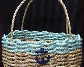 Large Hand Woven Rope Market Basket Natural / Aqua