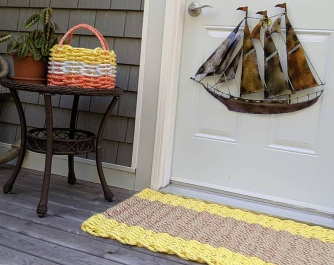 Handwoven Rope Mat -  Yellow with Wide Natural Centre