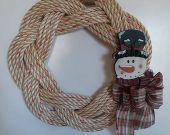 Handwoven Turks Knot Wreath with Snowman Decor