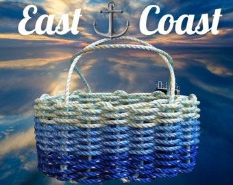 Hand Woven - Oval Market Basket - Dark Blue / Ocean Blue / Aqua
