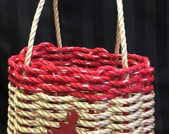 Small Handwoven Rope Basket with Side Handles Natural and Red