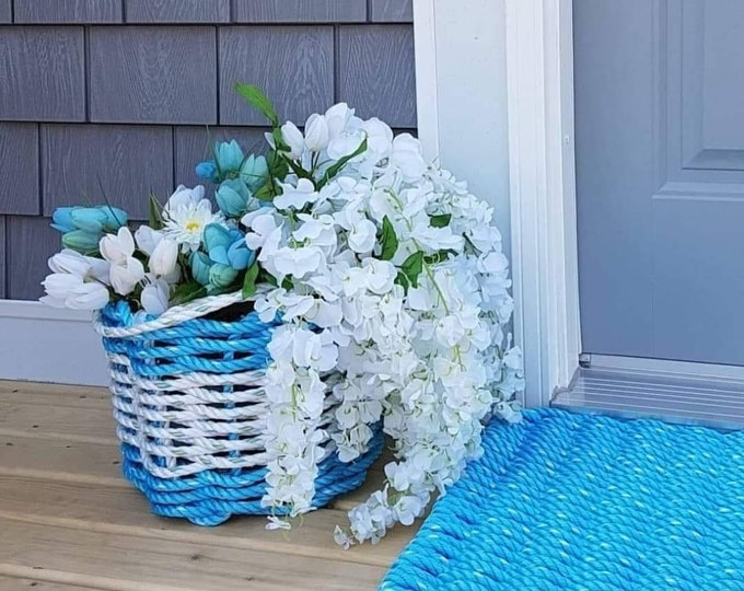 Handwoven Bushel Style Basket with handles Ocean Blue and White