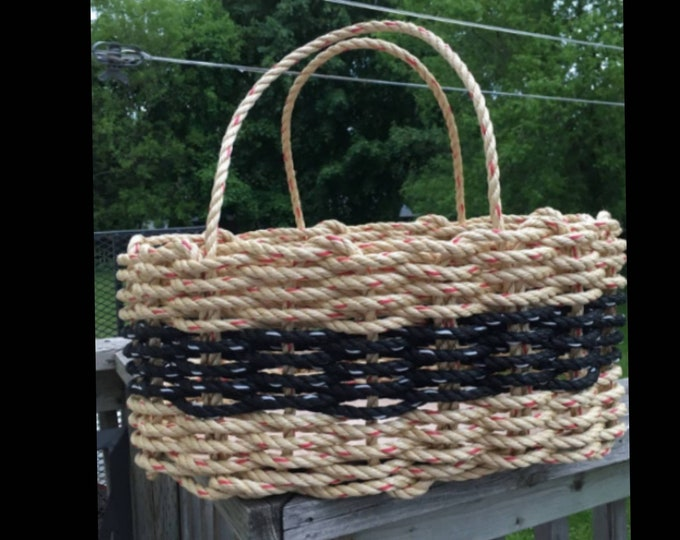 Large - Oval Market Basket - Natural and Black