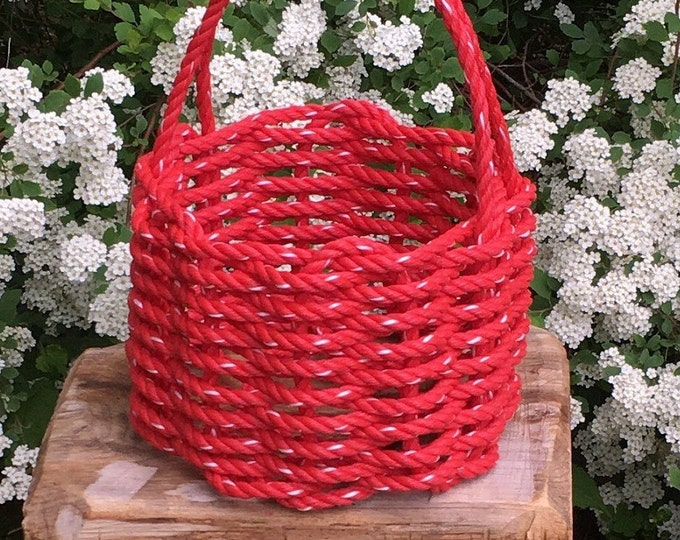 Small - Handwoven Rope Basket - Red