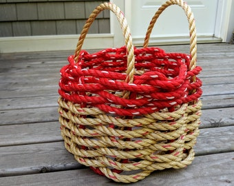 Small - Handwoven Rope Basket - Natural / Red