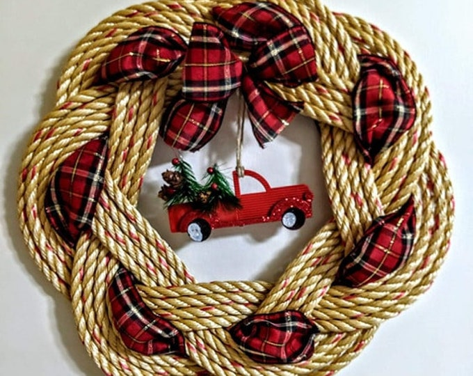 Handwoven Turks Knot Wreath -with Red Truck and Trees Decor
