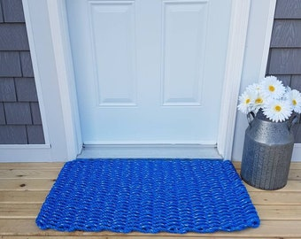 Handwoven Rope Mat - Dark Blue