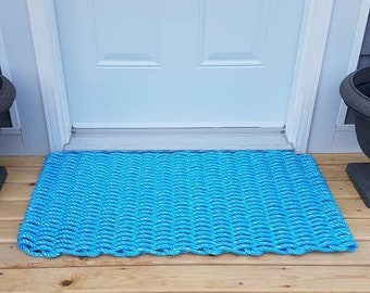 Handwoven Rope Mat - Ocean Blue