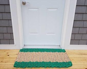 Handwoven Rope Mat - Green / Wide Natural Center