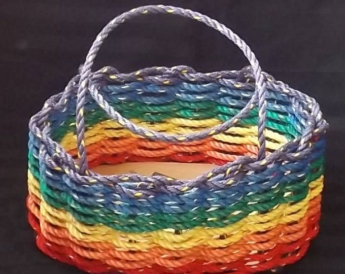 Large - Oval Market Basket - Over the Rainbow