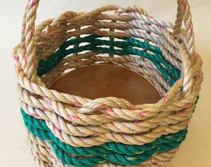 Small  Hand Woven Rope Basket Natural/ Green